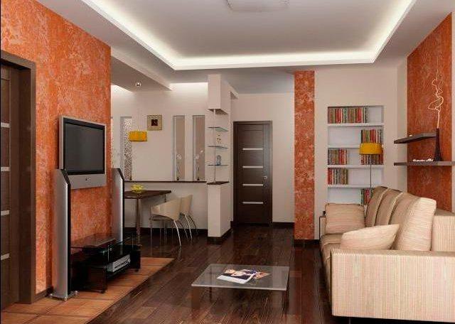 Дизайн проходной комнаты с кухней