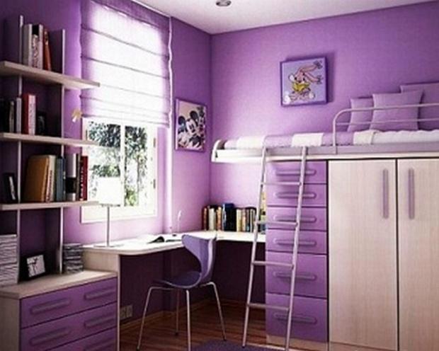 сиреневая с кроватью над шкафом