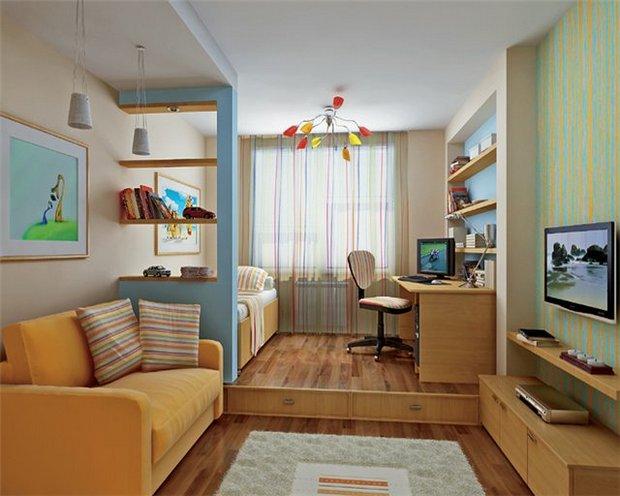 Узкая детская комната. дизайн