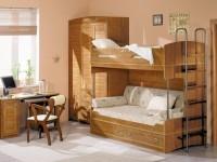 Двухъярусная кровать с диваном внизу для комнаты детей