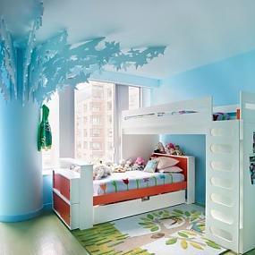 светлая атмосфера комнаты для двоих детей