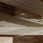 Гламурный стиль: реечный потолок для ванной